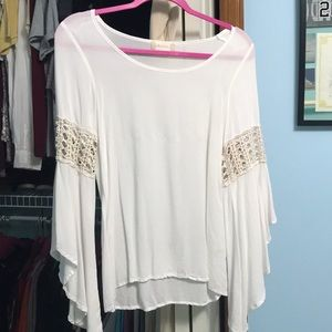 Sheer Bell Sleeve Top by Altar'd State